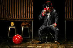 Simeon Sokoloff relaxing between Shows (Studio d'Xavier) Tags: ringmaster clown portrait circus 365 october32016 277366 stripes creepyclown