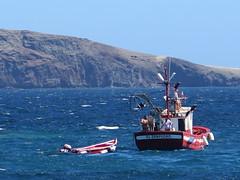 Men at work (Risager) Tags: blue red sea sky boat fishing fishermen sunny fishingboat grancan elburrero