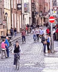 Morning Tableau in the Temple Bar.  Dublin. (legalwheel) Tags: dublin citystreets cobbles templebar girlonbicycle