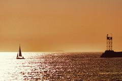 Faith In Self (joegeraci364) Tags: ocean sea sky sun seascape man color reflection nature water sunshine silhouette sailboat altered landscape boat marine peace faith scenic calm maritime solo zen sail serene nautical meaning confidence