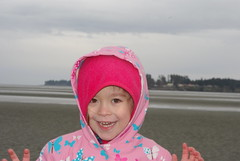 Enjoying the beach in the rain (Sim-tov) Tags: portrait beach easter april parksville rathtrevor noa passover pesach 2015