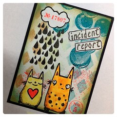 ATC Incident report (Stampinkie) Tags: atc artisttradingcard rubberstamping stampotique