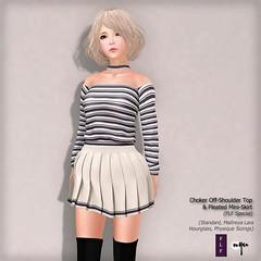 NYU - Choker Off-Shoulder Top & Pleated Mini-Skirt (FLF Special) (NyuNyu Kimono, NYU!) Tags: secondlife second life nyu flf minimal choker off shoulder top pleated mini skirt
