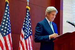 Secretary Kerry Smiles at a Reporter's Question (U.S. Department of State) Tags: johnkerry vientiane laos asean