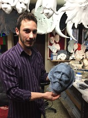 Sergio Boldrin's Nephew with Van Gogh Mask (Crumblin Down) Tags: venice vacation italy holiday reflection sergio sign shop del john ceramic paul star mirror la george europe italia harrison mask masks pottery beatles gondola lennon maker venezia ringo mccartney starr ferro trattoria maskmaker bottega forcola boldrin mascareri