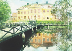 Leufsta mansion (BirgittaSjostedt) Tags: leuvstabruk walloon ironuse industrialenvironment tourist tourism reflection water flowers landscape house tree park texture paint bridge sweden outdoor building architecture history magicunicornverybest ie birgittasjostedt