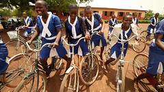 Girls with bicycles provided by GPE Grant funds (Global Partnership for Education - GPE) Tags: ghana educationinghana education gpe globalpartnershipforeducation schoolchildren school basiceducation younggirls