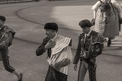 Preparacin (DCullenV) Tags: photo photography photojournalism candid streetphotography street bullfighter matador picador horse people bullfight arena plazadetoros maestranza lamaestranza sevilla espaa spain europe exterior iberia andaluca cape regalia vestimenta torero bendicin blessing real summer travel toreador ring dslr nikon d70 handheld digital sand caballo armored armadura armado monochrome blackandwhite blancoynegro blackwhite biancoenero bw sepia ps