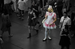 Pause. Then pop out in pink. (Corbicus Maximus) Tags: dress cos play fancy london hyper japan 2016 kensington olympia man tights lace ears furry fluffy pop colour color bag blackandwhite monochrome pause stand standing