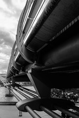 Span (K3EPhoto) Tags: london monochrome black white perspective line vanishing nikon d7000 k3ephoto contrast grey silver thames millenium bridge river town city urban life cable metal steel glass embankment shape photo tate view over workings function design architecture look point