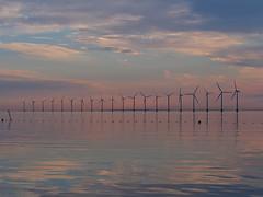 Copenhagen 2016 (hunbille) Tags: denmark amager amagerstrandpark strand strandpark beach kastrup sunrise dawn summer bath oresund resund water sea kbenhavn copenhagen windmill windmills turbine