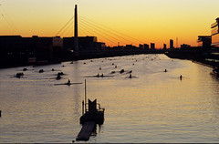 Dawn of boat course #2 (huzu1959) Tags: new fd85mm f12l fd canon f1 film velvia toda saitama japan water sunrise boat course outdoor landscape waterfront supercoolscan5000ed