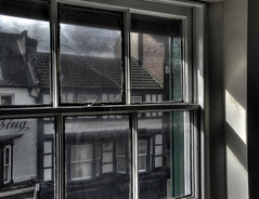 Broken Window (Preston Ashton (Away For A Little While)) Tags: broken window pane sunshine light buildings dirty prestonashton