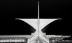 Milwaukee Art Museum @ Night  (1) (Alan Amati) Tags: amati alanamati american museum midwest milwaukee wisconsin ws art milwaukeeartmuseum mam wing wings bw building blackandwhite blackwhite monochrome highkey architecture clean night evening dark afterdark city urban santiagocalatrava calatrava quadratipavilion pavilion quadrati burke brise soleil
