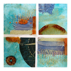 rusted sketchbook samples (Carolyn Saxby) Tags: paper collage paint stitch foundmaterials foundobjects turquoise rust brown gold fabric runningstitch frenchknots textileartist carolynsaxby nautical colours stives cornwall compass