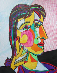Doras portrait (homage to Picasso) (lahermanafieltrovitz) Tags: portrait woman ink watercolor painting sewing picasso homage cubism doramaar fieltrovitz