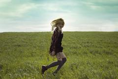 Jump (taniaolby) Tags: sky green girl spring jump outdoor levitation blonde amarilla