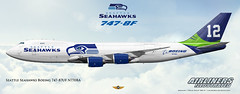 Seattle Seahawks Boeing 747-87UF N770BA. Airliners Illustrated® by Nick Knapp©. (AirlinersIllustrated.com) Tags: seattle travel color colour art illustration plane painting print poster de airplane design flying artwork paint view drawing aircraft aviation side jets nfl nick profile transport flight jet aeroplane civil commercial airline posters prints seahawks illustrator decal msn boeing fleet scheme flugzeug commission decals pilot 747 knapp airliners aviação aircrafts aviones jetliner perfiles livery flugzeuge jetliners commissions 7478 7478f 37564 pilotlife n770ba airlinersillustratedcom airlinersillustrated
