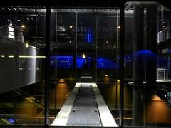 Paris - Bleu de Fond - (Smoke-Head Photography) Tags: bridge abstract paris france reflection glass perspective bleu reflet reflexion 75012 ugc fond vitrine verre cinéma abstrait passerelle bloe geometrique symétrique