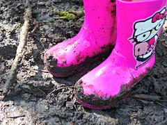Muddy Hello Kitty Wellington Boots (ChezMummy) Tags: mud hellokitty wellingtonboots wellies muddyboots