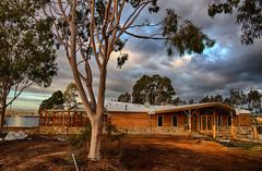 Visitors Hub (Rene52) Tags: sky building tree clouds wetlands winton wintonwetlands visitorshub