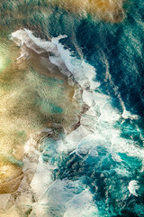 sea change (solecism) Tags: ocean above blue sea abstract texture beach nature landscape hawaii sand surf waves pattern crash aerial shore kauai saltwater birdseye helicoptertour beckroundthebend