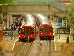 The Rat Race In Miniature. Tiltshift Effect. 26 04 2015 (pnb511) Tags: red london underground metro tube shift filter tilt epping centralline terminus 1992stock 91041 91347