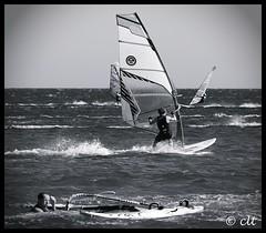 Windsurfing (Claus Thesbjerg) Tags: ocean bw sports water monochrome europa surfing greece windsurfing rhodes