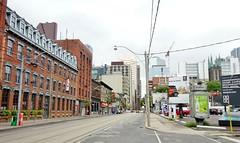 Corner of Queen St. E. & Mutal St., Toronto (Howard258) Tags: queenstreeteast torontoontario 2016 downtowntoronto queenstreet streetview toronto buildings historic
