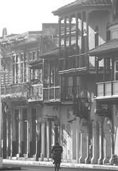 Cartagenero (1jonathan1) Tags: cartagenadeindias streets black street balcony old town sun light morning man bycicle blackandwhite blancoynegro zoom beautiful haze architecture