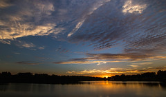 Sunset (Kevin Povenz) Tags: 2016 july kevinpovenz westmichigan michigan ottawa ottawacounty maplewoodpark sunset sun evening canon7dmarkii sigma1020 dusk warm hot blue yellow clouds outdoors reflection
