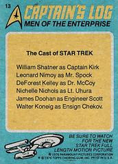 Star Trek trading card 13 - Men of the Enterprise - back (Tom Simpson) Tags: startrek tradingcard vintage television