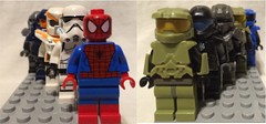 Comparing  other varied minifigs with, or with out armor (Mike-1911) Tags: lego halo spiderman strormtrooper collectible minifigures brickforge brickwarriors clonearmycustoms x39brickcustomscom microsoft xbox xboxone