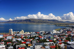 Reykjavik (Voyages Lambert) Tags: city roof sea cloud beach water skyline bay town iceland cityscape contemporary aerialview center reykjavik populated capitalcities buildingexterior downtowndistrict lookingatview humansettlement