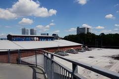 glaring (rainbowcave) Tags: sky rooftop clouds graffiti path wolken roofs railing dach gelnder