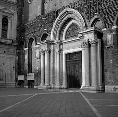 Entrance, Church of Santi Giovanni e Paolo, Venice (austin granger) Tags: church venice santigiovanniepaolo sanzanipolo entrance portal religion venetian italy gothic doges square film gf670 austingranger basilica campo