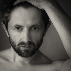 waiting [...] (AdisX | Andrius Maciunas) Tags: men portrait selfportrait self selfie eyes lips beard bw look wait waiting direct ask question triangle