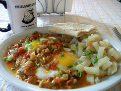 Huevos Rancheros with Potatoes (randyman) Tags: eggs greenchile breakfast huevosrancheros potatoes mexicanfood mexicanamericanfood eats