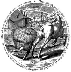 When the hay runs after the horse - etching after Pieter Bruegel I (petrus.agricola) Tags: twelve proverbs flemish dutch after pieter bruegel elder etching probably hieronymus wierix jeronymus