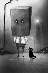 In the night (Shmoonify) Tags: night nighttime cat cats scary spooky horror paperbag bag illustration art book storybook artwork