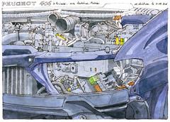 Peugeot, à la casse (gerard michel) Tags: auto aquarelle peugeot
