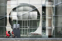 - Listen very carefully, I shall say this only once! (airSnapshooter) Tags: architecture berlin glass steel bicycle spree deutschland mitte reflection wall selfie canoneos6d canonef70200f4l outdoor circle germany europa europe building