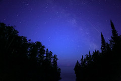 Milky Way & Shooting Star (Sam Wagner Photography) Tags: meteor astronomy milky way new moon astrophotography night sky stars shooting long wide angle lake superior temperance river mouth treeline silhouette
