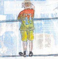 # 227 (14-08-2016) (h e r m a n) Tags: herman illustratie tekening bock oosterhout zwembad 10x10cm 3651tekenevent tegeltje drawing illustration karton carton cardboard goodbye farewell afscheid zwaaien wave back rug rucke ruggenfiguur ruckenfigur messi jongen boy child kid kind