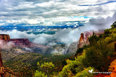 HAPPY OCTOBER (Aspenbreeze) Tags: coloradonationalmonument colorado grandjunction graqndjunctioncolorado monuemnt autumn foggy fogy october spires rockformations clouds weather rural mountains landsacape bevzuerlein aspenbreeze moonandbackphotography