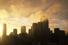 The City in the Golden Cloudscapes (Katrin Ray) Tags: thecityinthegoldencloudscapes goldensunsetintoronto sunmagic sunset magic downtown skyscrapers lights colours cloudscapes toronto ontario canada katrinray dreamscapesoftoronto canonphotography canon eos rebel t6i 750d