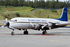 Everts Air Cargo, Douglas DC-6, N100CE. (M. Leith Photography) Tags: evertsaircargo douglasdc6 n100ce what lovely sight sound could barely believe eyes when i saw this beaut taxi towards me anchorage ted stevens international airport alaska 3rd august 2016 anc panc usa everts air cargo aviation dc6 machine flying prop markleithphotography d7000 70200vrii beautiful