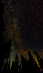 Night Sky Pointers (hardaker) Tags: laketahoe skysunday astro astrophotography clouds dark forest galaxy light milky nature night orange pano pine pines plane pollution sky stars trees way tofb