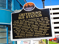 Greyhound Station, Jackson, MS (Robby Virus) Tags: dog greyhound bus robert station sign mississippi freedom neon adams transport jackson historic architect transportation parker riders
