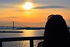 Looking Into the Mirror of Desire (Mohsin Rafiq Photography) Tags: nyc sunset portrait skyline clouds landscape nikon dusk bronx brunette longislandsound whitestonebridge shiningsun nycmodel shadesandsunsets